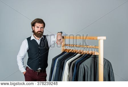 Fashion In The Making. Male Beauty And Fashion. Bearded Man Tailoring Clothes. Formal And Office War