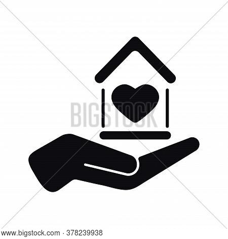 House With Heart In Hand Black Color Vector Icon Isolated On White Background. Home Care And Homeles