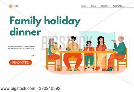 Web Page Banner Template With Family Holiday Dinner And Reunion Of Family Generations At Festive Tab