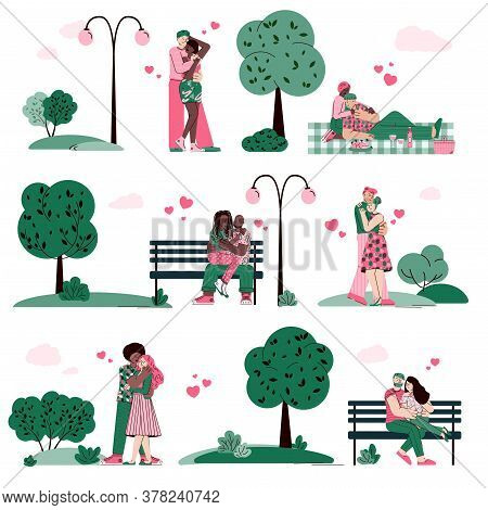 Loving Couples Dating And Hugging In Summer Park Among Green Trees, Cartoon Vector Illustration Isol