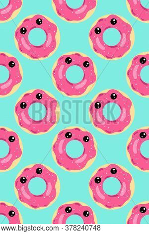 Vector Seamless Pattern, Donuts With Pink Icing On A Blue Background, Donut With Eyes, Cute, Childre