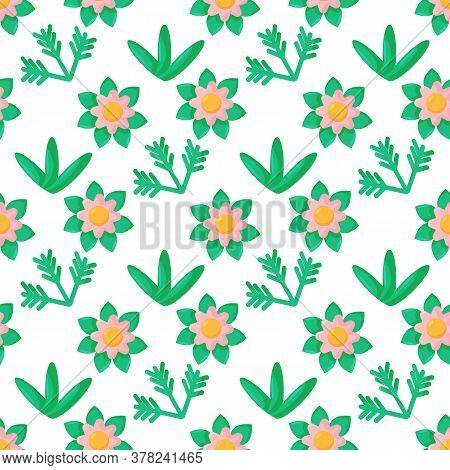 Cartoon Doodle Seamless Pattern. Bushes, Leaves, Flowers In Scandinavian Childlike Style Background.