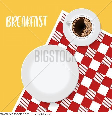Empty Plate And Coffe On Red Tablecloth Or Napkin. Restaurant Or Cafe Logo Template. Waiting For Mea