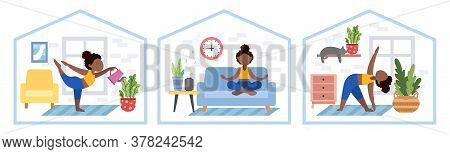 Set Of Black Girls. Bundle Of African American Women Doing Yoga, Stay At Home. Exercises For Health,