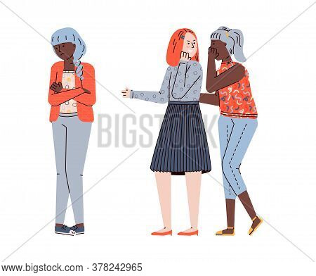 Teenage Girls Bullying And Offending Other Teen Girl, Flat Vector Illustration Isolated On White Bac