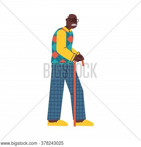 Elderly African American Grandfather Cartoon Character With Cane, Flat Vector Illustration Isolated