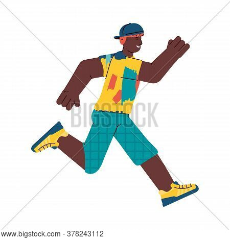 Running Young Man Cartoon Character In Sportswear And Cap, Flat Vector Illustration Isolated On Whit