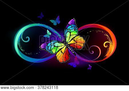 Multicolor, Bright, Symbol Of Infinity With Rainbow, Detailed Butterfly Monarch On Black Background.