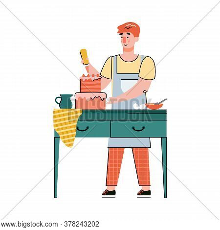 Man Cartoon Character Baking And Decorating A Cake With Cream, Flat Vector Illustration Isolated On