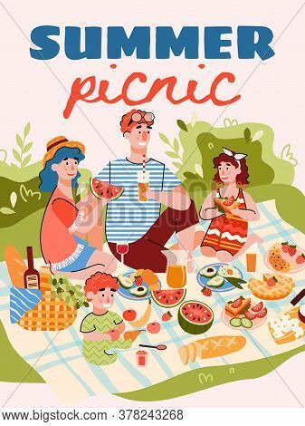 Summer Family Picnic Banner Or Poster Template With Cartoon Characters Of Family Members Eating Outd
