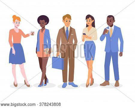 Business People Group Communication. Colorful Flat Design Vector Illustration. International Busines