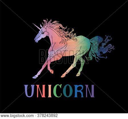 Handdrawn Skittish Unicorn And Word Unicorn Isolated On The White Background. Vector Illustration