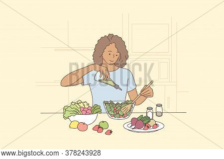 Cooking, Hunger, Food, Health, Vegetarian Care Concept. Young Happy Hungry Smiling African American