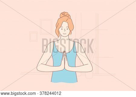 Sport, Yoga, Recreation, Coronavirus, Quarantine Concept. Namaste Or Let Peace Be With You. Young Ha