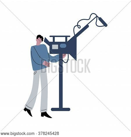 Young Cameraman During Cinema Production Vector Illustration