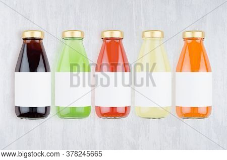 Collection Of Fresh Various Vegetables Juices - Muddy And Transparent In Glass Bottles With Blank La