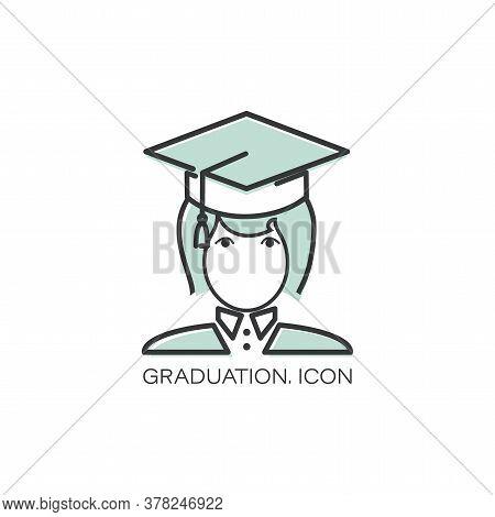 Vector Graduation Icon. Girl. Education, Academic Degree. Degree Student Faceless Female Avatar.