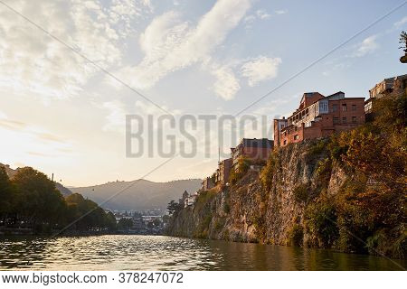 Tbilisi, Georgia - October 21, 2019: River Kura In Capital Of Georgia Tbilisi In A Daytime And Sight