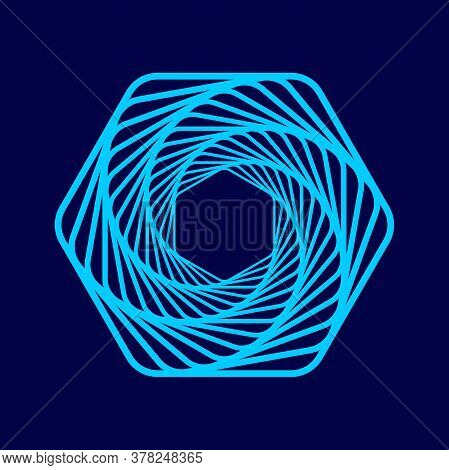 Twisted Abstract Wireframe Tunnel. Twisted Colored Tunnel 3d. Wireframe Hexagon Shape On A Blue Back