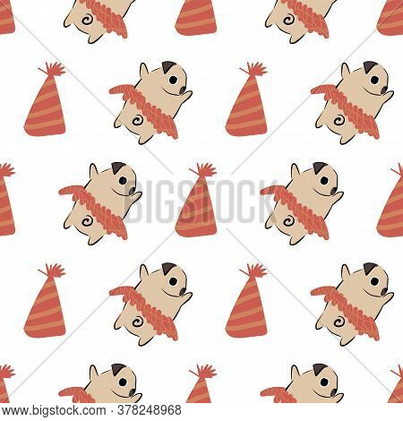 Pug Dog Party Hat Tutu Seamless Pattern. Great For Gift Wrapping, Wallpaper, Textile And Scrapbook