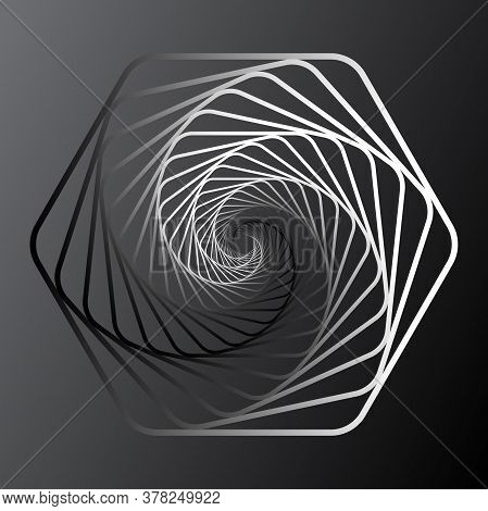 Twisted Abstract Wireframe Tunnel. Wireframe Hexagon Shape. Scinece And Tech Vector Illustration.