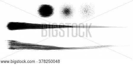 Grunge Brush Strokes Of Paint Spray And Spot Dirty Splash Vector Element Illustration, Grungy Grain