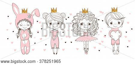Children S Coloring Book With Set Of Cute Characters. A Linear Doodle Sketch, A Ballerina, A Boy In