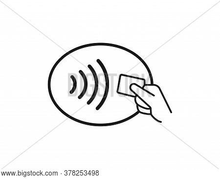 Contactless Icon. Hand Holding Bank Card. Wireless Technology Of Payment. Nfc Transaction. No Contac