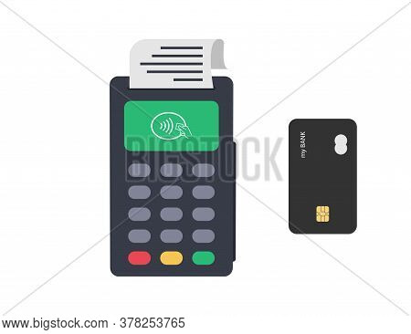 Pos Terminal With Credin Bank Card. Payment Contactless Terminal. Transaction Device For Paying. Ban