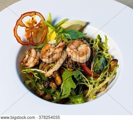 Scampi Shrimp, Vegetable Salad Close Up View