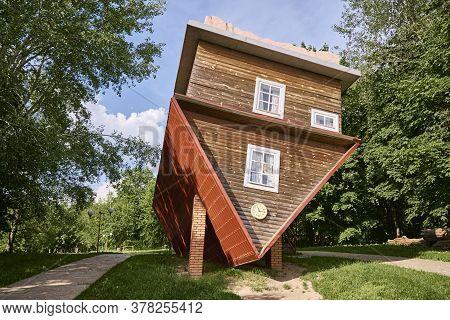 Upside Down House Attraction. Tourist Complex Of Dukora, Belarus