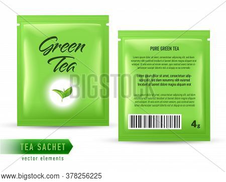 Tea Sachet Package Design Template Isolated On White Backgrpound. Realistic Tea Pack Bag.