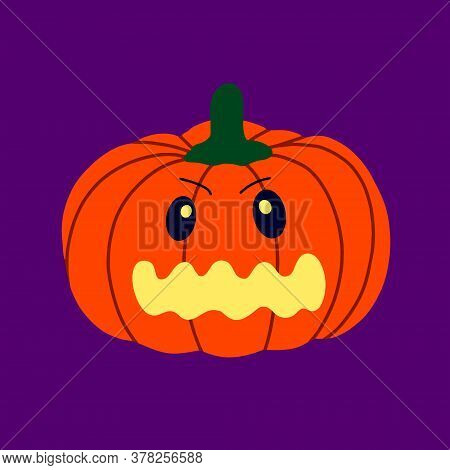 The Evil Pumpkin.symbol Of The Halloween.orange Pumpkin With A Smile.design For The Halloween.vector