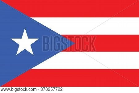 Puerto Rico Flag Vector Graphic. Rectangle Puerto Rican Flag Illustration. Puerto Rico Country Flag
