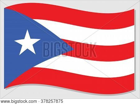 Waving Flag Of Puerto Rico Vector Graphic. Waving Puerto Rican Flag Illustration. Puerto Rico Countr