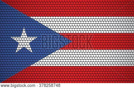 Abstract Flag Of Puerto Rico Made Of Circles. Puerto Rican Flag Designed With Colored Dots Giving It