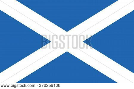 Scotland Flag Vector Graphic. Rectangle Scottish Flag Illustration. Scotland Country Flag Is A Symbo
