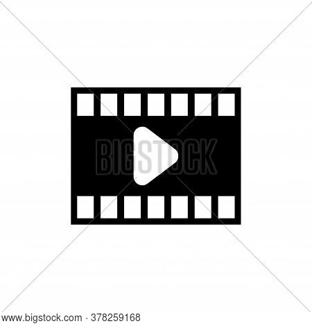 Play Video, Multimedia Movie Player. Flat Vector Icon Illustration. Simple Black Symbol On White Bac