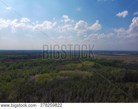 Blue Sky Over A Large Beautiful Forest, Aerial View.