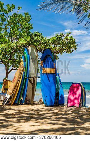 KUTA BALI - INDONESIA, FEBRUARY 7 : Surfboards on the famous beach of Kuta in Bali Indonesia February 7th, 2020