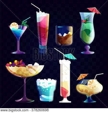 Night Cocktail. Alcohol Cocktails And Tropical Juice Beverage In A Glass. Set Of Drink For Night Par
