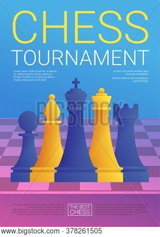 Chess Tournament Poster In Cartoon Style. Purple Chessboard With Blue And Yellow Chess Pieces. Chess