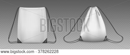 Backpack Bag With Drawstrings Isolated On Transparent Background. Vector Realistic Mockup Of School