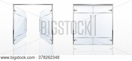 Double Glass Doors With Metal Frame And Handles. Vector Realistic Mockup Of Open And Closed Doors Is