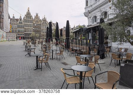 Antwerp, Belgium, July 19, 2020, Empty Terraces And Catering Businesses On The Great Market Square
