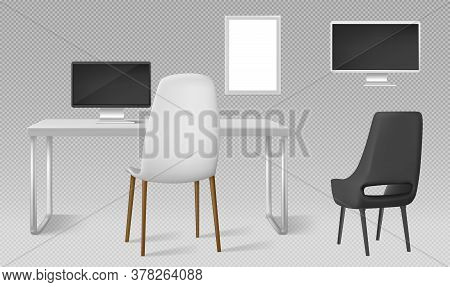 Desk, Monitor, Chairs And Blank Picture Frame Isolated On Transparent Background. Vector Realistic S