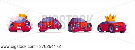 Cartoon Car Character Washing With Foam, Vip In Gold Crown, Express Happy And Surprised Emotions, Cu