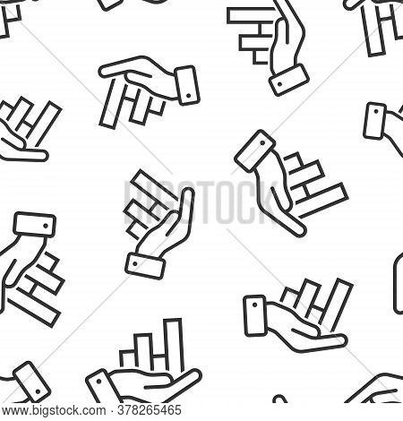 Growth Revenue Icon In Flat Style. Diagram With Hand Vector Illustration On White Isolated Backgroun