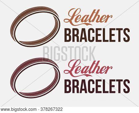 Classic Vintage Leather Handmade Bracelet Logo. Wrist Accessories Emblem. Design For Print, Emblem,