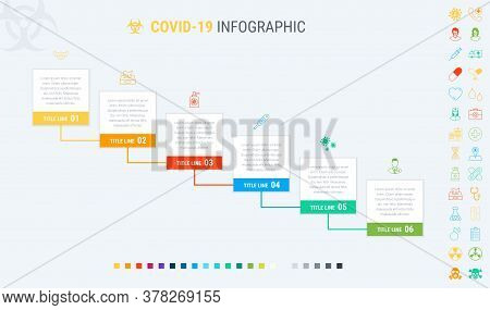 Coronavirus Timeline. Covid-19 Infographic Template, 6 Steps. Process And Workflow Layout. Vector In